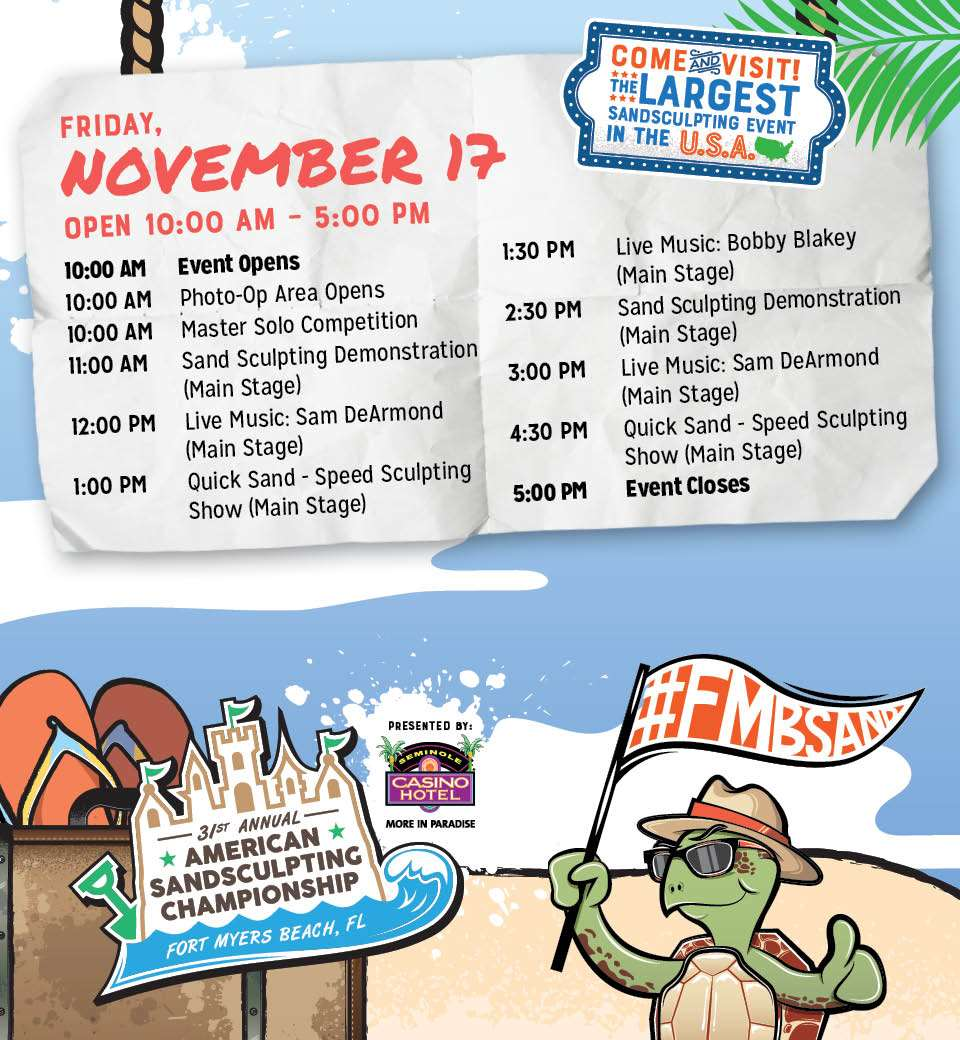 event schedule fort myers beach sand sculpting championship